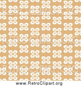 Clipart of a Tan Background with White Abstract Butterflies by Prawny
