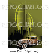 Clipart of a Vintage Car over a Green Urban Background by