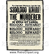 Clipart of a Vintage Murderer Reward by BestVector
