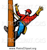 Clipart of a White Lineman on a Pole by Patrimonio