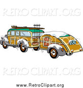 Clipart of a Winter Woody Sedan Car with Skis and a Trailer by Andy Nortnik