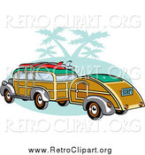 Clipart of a Woody Car with Surfboards on the Roof, Pulling a Trailer over Green with Palm Trees by Andy Nortnik