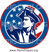 July 28th, 2015: Clipart of an American Revolutionary War Soldier over a Retro Flag Circle by Patrimonio