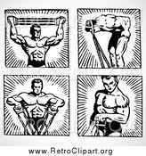 Clipart of Black and White Male Body Builders by BestVector