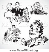 Clipart of Black and White Retro People and Food by BestVector