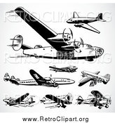 Clipart of Black and White Retro Planes on Shading by BestVector