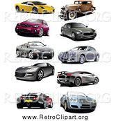 Clipart of Coupes, Vintage, and Sports Cars by