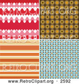 Clipart of Four Retro Backgrounds by KJ Pargeter