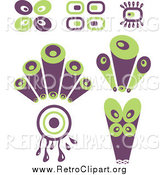 Clipart of Purple and Green Retro Circle Designs by Prawny