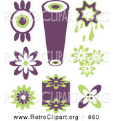 October 11th, 2015: Clipart of Purple and Green Retro Icons by Prawny