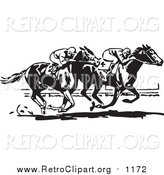 Clipart of Retro Black and White Jockeys and Horses in a Race by BestVector