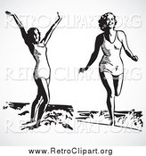 Clipart of Retro Black and White Ladies in the Surf at the Beach by BestVector