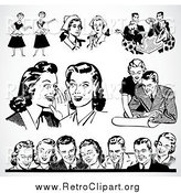 Clipart of Retro Black and White Men and Women over Shading by BestVector