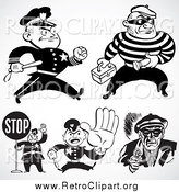Clipart of Retro Black and White Police Officers and Criminals by BestVector