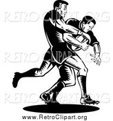 Clipart of Retro Black and White Rugby Football Players in Action by Patrimonio