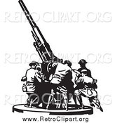 Clipart of Retro Black and White Soldiers Setting up a Military Gun by BestVector
