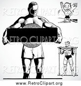 Clipart of Retro Bodybuilders by BestVector