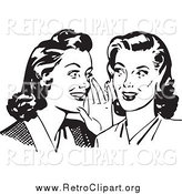 Clipart of Retro Gossiping Women, in Black and White by BestVector