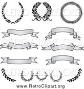 Clipart of Retro Grayscale Banners, Laurels and Wreaths by BestVector