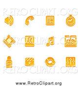 Clipart of Retro Orange Media Icons by AtStockIllustration