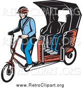 Clipart of Retro People Riding on a Rickshaw by Patrimonio