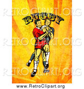 Clipart of Retro Rugby Players over Orange Grunge with Text by Patrimonio