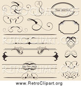 Clipart of Retro Swirl and Floral Rules Borders and Frames by Vectorace