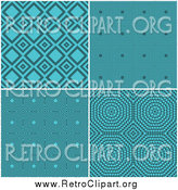 January 12nd, 2014: Clipart of Retro Turquoise Pattern Backgrounds by KJ Pargeter