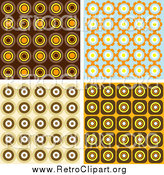 Clipart of Retro Wallpaper Backgrounds of Orange, Brown and Blue Circles by KJ Pargeter