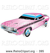 Retro Clipart of a 1971 American Dodge Challenger Muscle Car in Pink with Black Racing Stripes on the Sides by Andy Nortnik