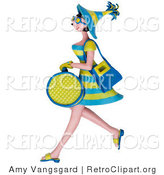 Retro Clipart of a 3d Shopping Woman in Green and Blue Carrying Bags by Amy Vangsgard