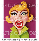 Retro Clipart of a 3d Yelling Retro Blond Woman by Amy Vangsgard