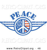 Retro Clipart of a American Peace Symbol with Stars and Stripes and Wings Onthe Sides over White by Andy Nortnik