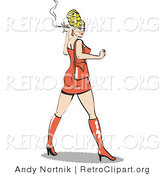 Retro Clipart of a Attractive Blond Bombshell Woman Wearing a Tight Orange Dress Looking Back and Smoking a Cigarette by Andy Nortnik