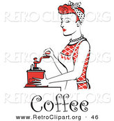 Retro Clipart of a Beautiful Red Haired Housewife or Maid Woman Wearing a Red Outfit Using a Manual Coffee Grinder, with Text by Andy Nortnik