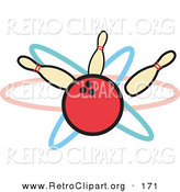 Retro Clipart of a Big Red Bowling Ball Hitting Three Bowling Pins by Andy Nortnik