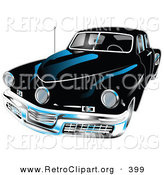 Retro Clipart of a Black 1948 Tucker Car with a Chrome Bumper and Details on White by Andy Nortnik