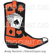 Retro Clipart of a Black and Red Cowboy Boot with Playing Cards and Silhouettes of a Spade, Club, Diamond and Heart on White by Andy Nortnik