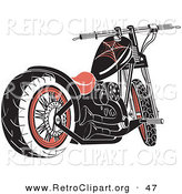 Retro Clipart of a Black and Red Motorcycle with Spider Web Accents by Andy Nortnik