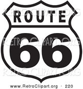 Retro Clipart of a Black and White Bold Route 66 Sign by Andy Nortnik