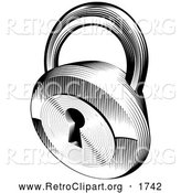 Retro Clipart of a Black and White Engraved Padlock by AtStockIllustration