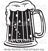 Retro Clipart of a Black and White Frothy Beer Mug in a Bar by Andy Nortnik