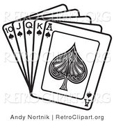 Retro Clipart of a Black and White Hand of Cards Showing a 10, Jack, Queen, King and Ace of Spades by Andy Nortnik