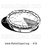 Retro Clipart of a Black and White Outline of a Freshly Baked Pumpkin Pie in a Pan, Missing One Slice, Served for Thanksgiving Dessert by Andy Nortnik