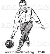 Retro Clipart of a Black and White Retro Man Bowling by BestVector