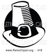Retro Clipart of a Black Circle Behind a Pilgrim Hat by Andy Nortnik