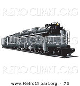Retro Clipart of a Black Train Travelling on Rails to the Side by Andy Nortnik