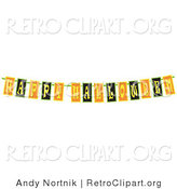 Retro Clipart of a Black, Yellow and Orange Happy Halloween Banner Strung up for a Party by Andy Nortnik