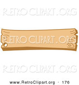 Retro Clipart of a Blank Wooden Western Style Sign with a Nail Hole on a White Background by Andy Nortnik