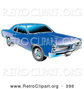 Retro Clipart of a Blue 1966 Pontiac GTO Muscle Car with Silver Detailing on the Front End and Around the Windows by Andy Nortnik